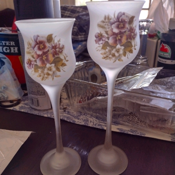 Frosted Floral Candle Holders PartyLite Shabby Chi
